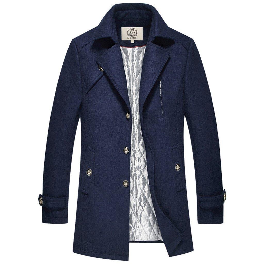 E-artist Men's Wool Coat Long Single Breasted Overcoat N39