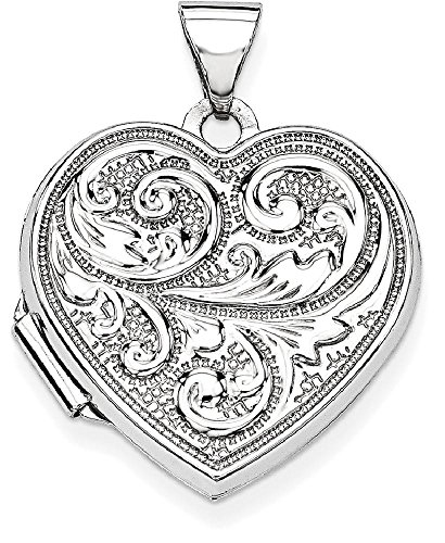 ICE CARATS 14k White Gold Scrolled Love You Always Heart Photo Pendant Charm Locket Chain Necklace That Holds Pictures by ICE CARATS