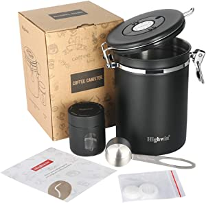 Highwin Stainless Steel Airtight Coffee Canister, 25OZ Vacuum Sealed Container with Cantilever Lid, CO2-release Valve and Date Tracker, Measuring Scoop, 2 Extra valves and 1 Travel Jar, Matte Black
