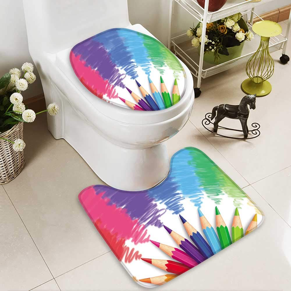HuaWuhome 2 Piece Toilet mat Set Realistic of Colorful Colored Pencils or Crayons with Multicolored Brush Strokes inBack to School 2 Piece Shower Mat Set