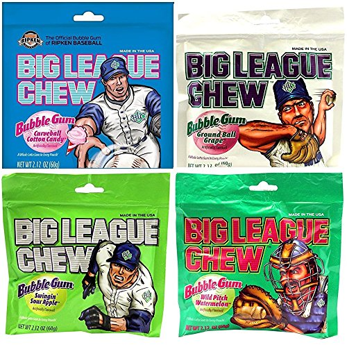 Big League Chew Gum, 4 Flavors, Assortment, (4 - 2.12 Oz Packs)