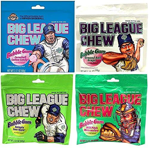 Big League Chew Gum, 4 Flavors, Assortment, (4 - 2.12 Oz -