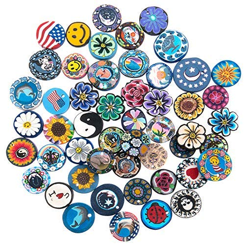 50 Pieces Assorted Designs Fimo Polymer Clay Disc Pendants for Jewelry Making - DIY Kit for Necklaces - Includes Free Gift Necklace, 12 Adjustable Wax Cords and 50 Jump Rings]()