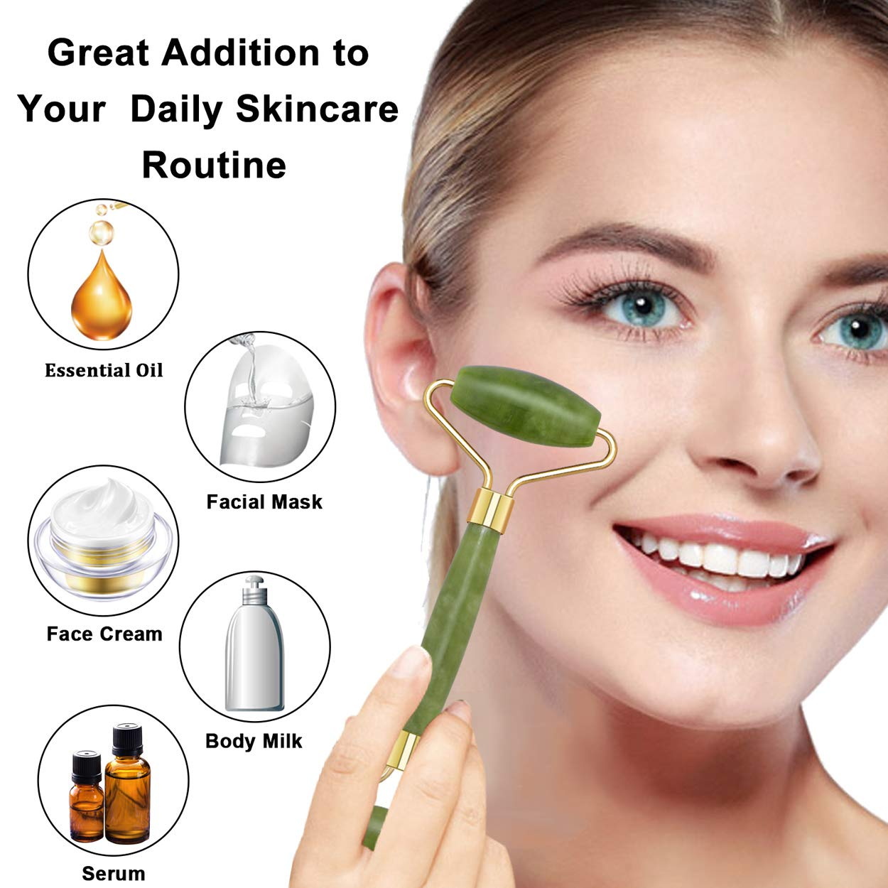 Jade Roller for Face & Gua Sha Scraping Tool, 100% Real Natural Jade Facial Roller, 2 in 1 Anti-Aging Face Roller Massager for Cheeks Slimmer, Skin Tightening, Face Firming, Rejuvenate Skin (Green)