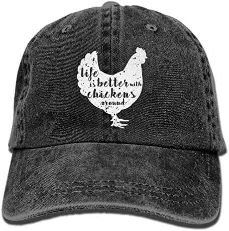 924288e7 Life is Better with Chickens Around Vintage Adjustable Cowboy Cap Gym Caps  for Adult