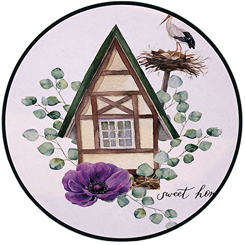 (Printing Round Rug,Anemone Flower,Watercolor Happy Home Label House in Alpine Style White Stork Nest Decorative Mat Non-Slip Soft Entrance Mat Door Floor Rug Area Rug For Chair Living Room,Green Purpl)