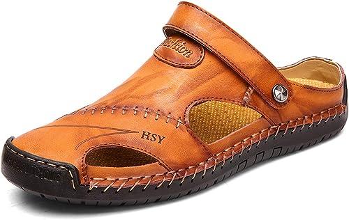 Sandales Bout Fermé Homme Cuir Chaussures de Plage Piscine