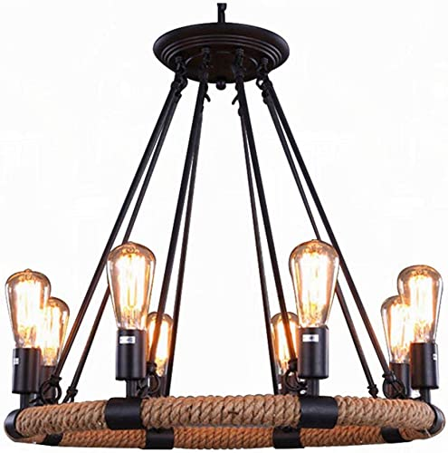 Vintage Industrial Hemp Rope Living Room Chandelier Fixtures Retro Dining Room Pendant Lamp Bedroom Personality Ceiling Pendant Amiercan Country Rustic Ceiling Pendant Lights 8 Heads