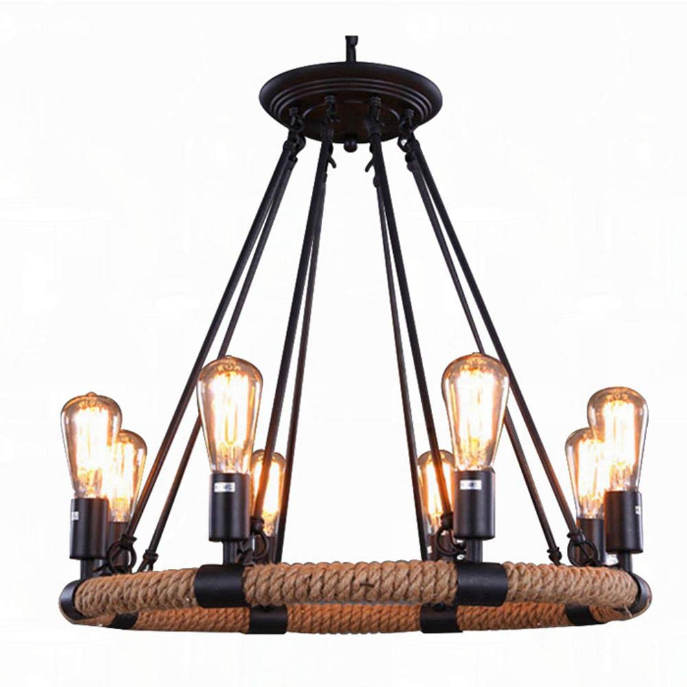 Vintage industrial hemp rope living room chandelier fixtures retro dining room pendant lamp bedroom personality ceiling pendant amiercan country rustic