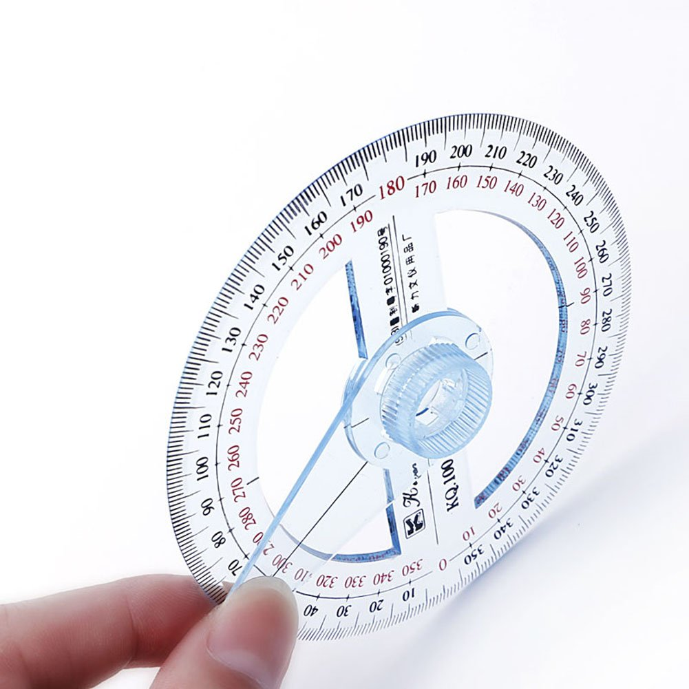 Amrka Plastic 360 Degree Protractor Ruler Angle Finder Swing Arm School Office