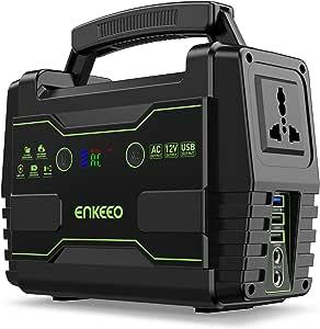 ENKEEO - Generador Portátil 155Wh con 6 Puertos (QC3.0/USB/AC/DC), Pantalla LED, Flashlight SOS, Soporta Panel Solar, Estación de Electricidad Banco Energía para Camping, Viaje, Emergencia