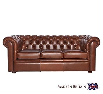 Chesterfield Sofa Whitehall 3 Sitzer Echtleder Used Optik Vintage Semi  Anilin Leder