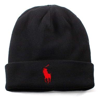 Ralph Lauren Bonnet Noir Logo Rouge pour Homme  Amazon.fr  Vêtements ... 4b0c3339bbf