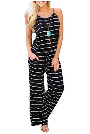 c53e921e8dd WSPLYSPJY Women s Comfy Striped One Piece Jumpsuit Loose Sleeveless Wide  Leg Long Pants Romper Black XS