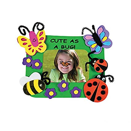Amazon.com: 12 ~ Cute As a Bug Photo Frame Magnet Foam Craft Kits ...