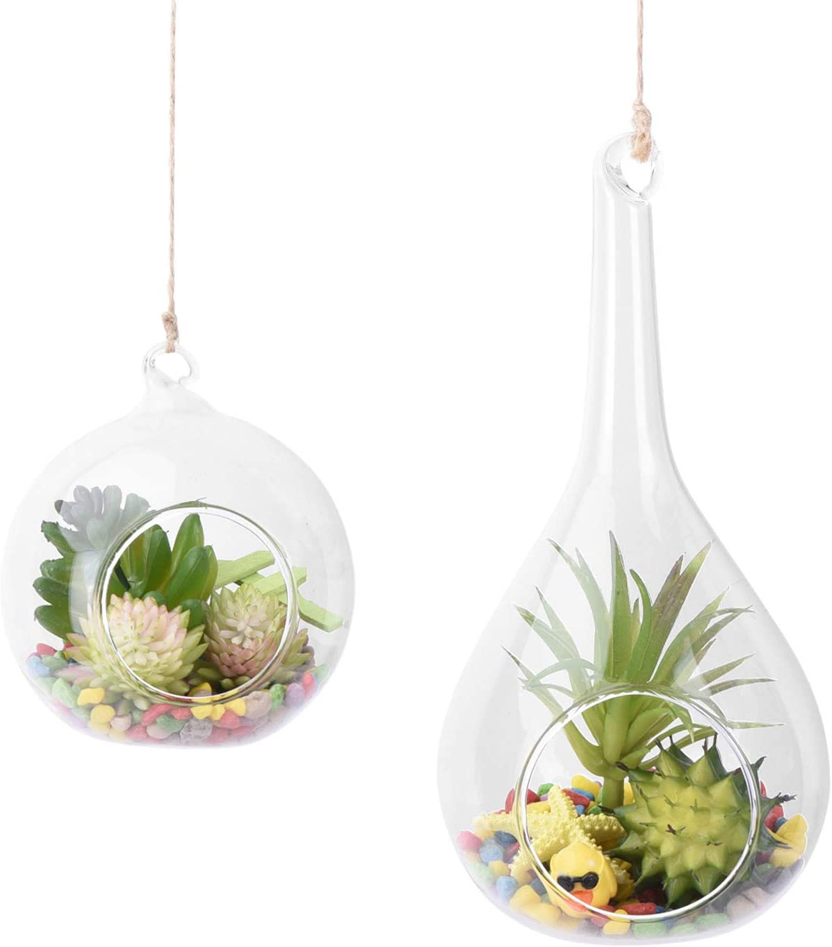 AUTOARK Glass Globe and Teardrop Hanging Succulent Air Plant Terrarium,Glass Vase Hanging Planter,Candle Holder,Home & Office Decor Accent,APT-013