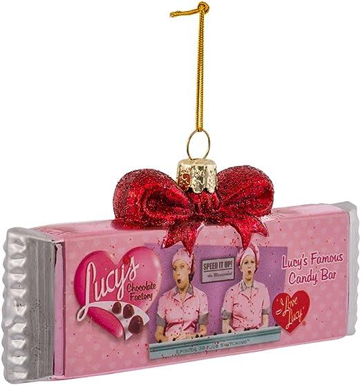 Kurt Adler I Love Lucy Pink Chocolate Bar Candy Glass Christmas Tree Ornament