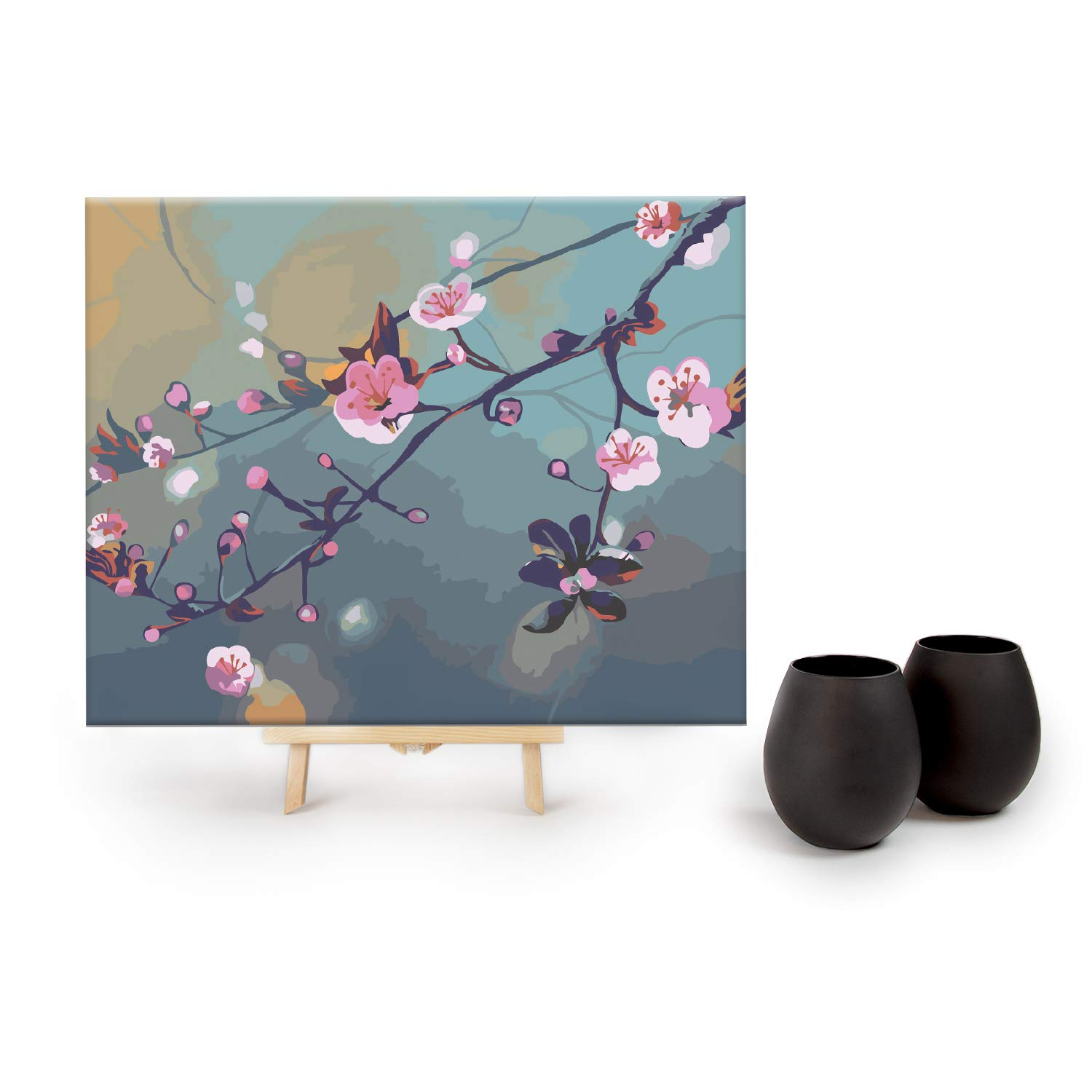 Big Betty Paint by Numbers for Adults, Black Stemless Wine Glasses, Cherry Blossom Canvas, 2 Kits