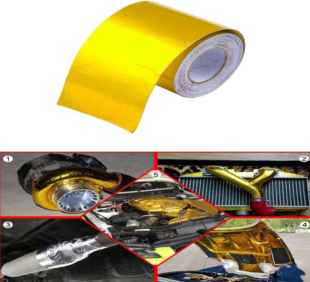 Color : 10M NO LOGO SFFSMD Cinta de Escape de Calor Wrap Oro Aire de admisi/ón t/érmica del Aislamiento de refracci/ón t/érmica Barrera Auto Adhesivo Motor 2 Pulgadas y 5//9 10M