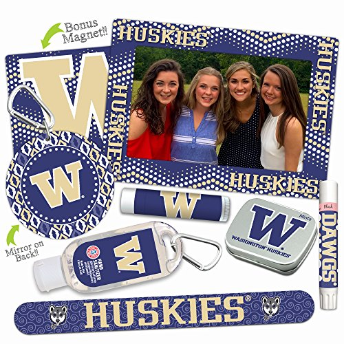Washington Huskies—DELUXE Variety Set (Nail File, Mint Tin, Mini Mirror, Magnet Frame, Lip Shimmer, Lip Balm, Sanitizer). NCAA gifts, stocking stuffers. Only from Worthy. (Pick Guaranteed Ncaa Basketball)