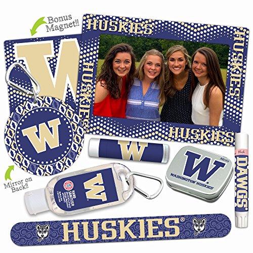 Washington Huskies—DELUXE Variety Set (Nail File, Mint Tin, Mini Mirror, Magnet Frame, Lip Shimmer, Lip Balm, Sanitizer). NCAA gifts, stocking stuffers. Only from Worthy. (Pick Ncaa Guaranteed Basketball)
