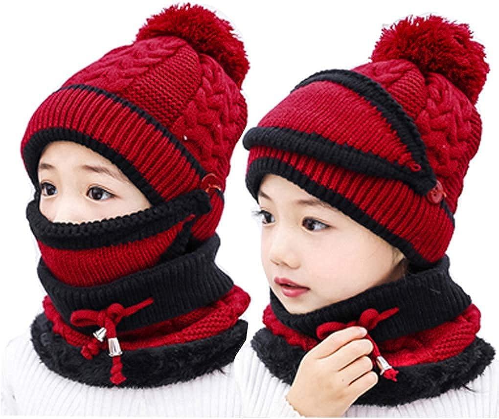 3PCS Kids Girls Knitted Hat Mask Scarf Set Winter Warm Circle Scarf Fleece Liner Skiing Beanie Hat