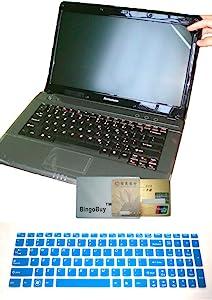US Layout Keyboard Skin Cover + 15.6'' Anti Glare & Fingerprint & Scratch Screen Protector for Lenovo Thinkpad Ideapad S510 S510p U510 U530 Y50 Y500 Y510p Y580 Y570 Y570D (semi-Blue Keyboard Skin)