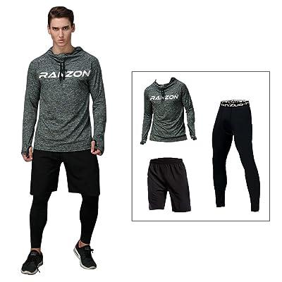 HOTIAN Men's Basketball Running Compression Suits Shirt+Pants+Short (Pack of 3)