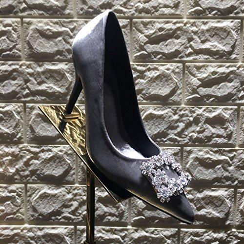 Zapatos de Tacón Alto con Zapatos de Mujer de Cristal Puntiagudo Mi