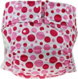 かわいい 水玉 模様 大人用 オムツ カバー フリーサイズ 伸縮性 通気性 蒸れない 横漏れ 防止 (ピンク)