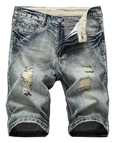 (LATUD Men's Distressed Ripped Straight Fit Denim Shorts 006-1, US 38 /Tag 38)