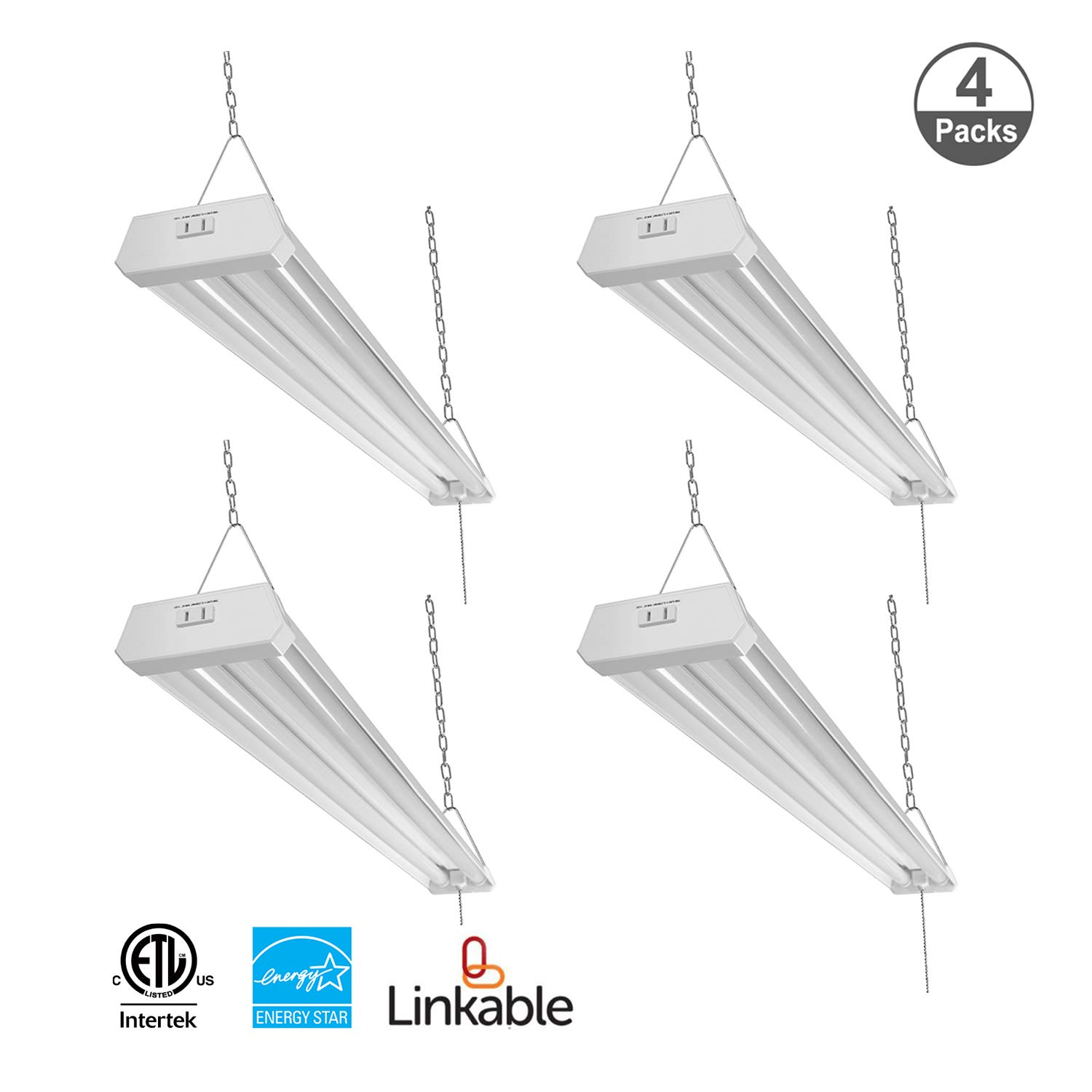 JULLISON Linkable 4 Packs LED Utility Shop Light 4 Foot 48 Inchfor Garage, 120VAC, 42W, 4200LM, CRI80+, 5000K, Frosted Lens, with Pull ChainSwitch & Polarized Plug, ETL/Energy Star Certified, White