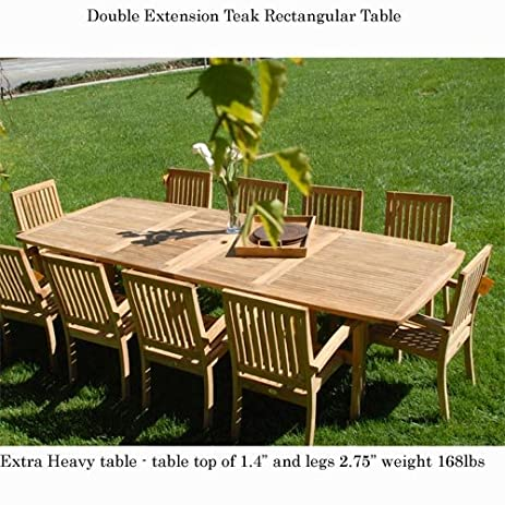 New 11Pc Grade A Teak Outdoor Dining Set 95u0026quot;X40u0026quot; Extra Thick