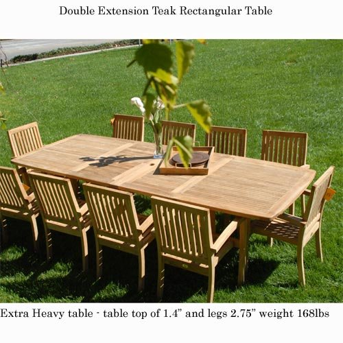 New 11Pc Grade-A Teak Outdoor Dining Set-95
