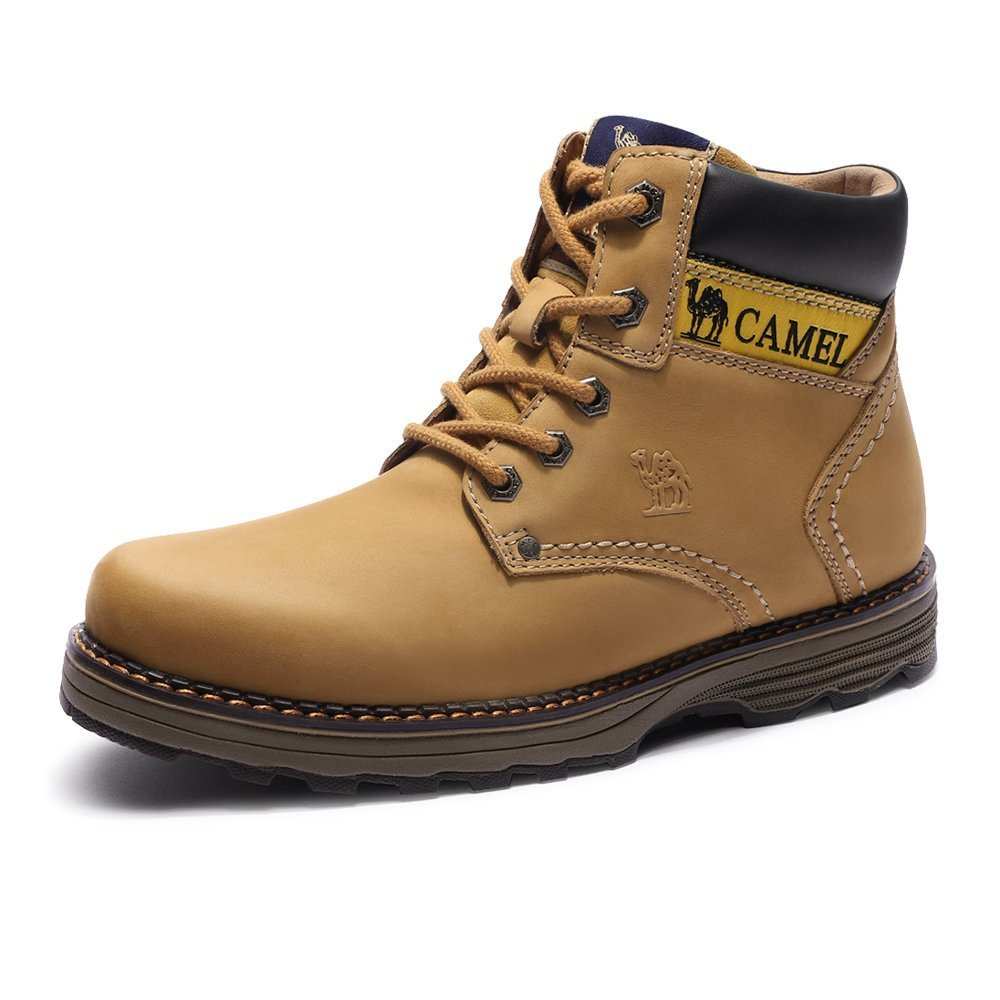 Camel Mens Work Boots Safety Toe Leather Insulated Industrial Boot and Non-Slip Warm High Top Martin Boots Construction Walking Work Shoes, Tan, 8.5