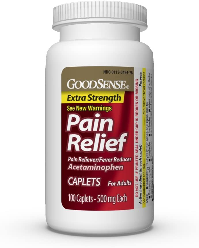 GoodSense Extra Strength Pain Relief, Acetaminophen Caplets, 500 mg, Temporarily Relieves Minor Aches and Pains and Reduces Fever, 100 Count: Health & Personal Care