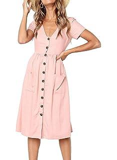 a601d7fa8f4b Rainlover Women's Summer Short Sleeve V Neck Button Down Swing Midi Dress  Pockets