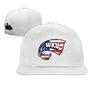ElishaJ Flat Bill Western Kentucky University Baseball Caps White
