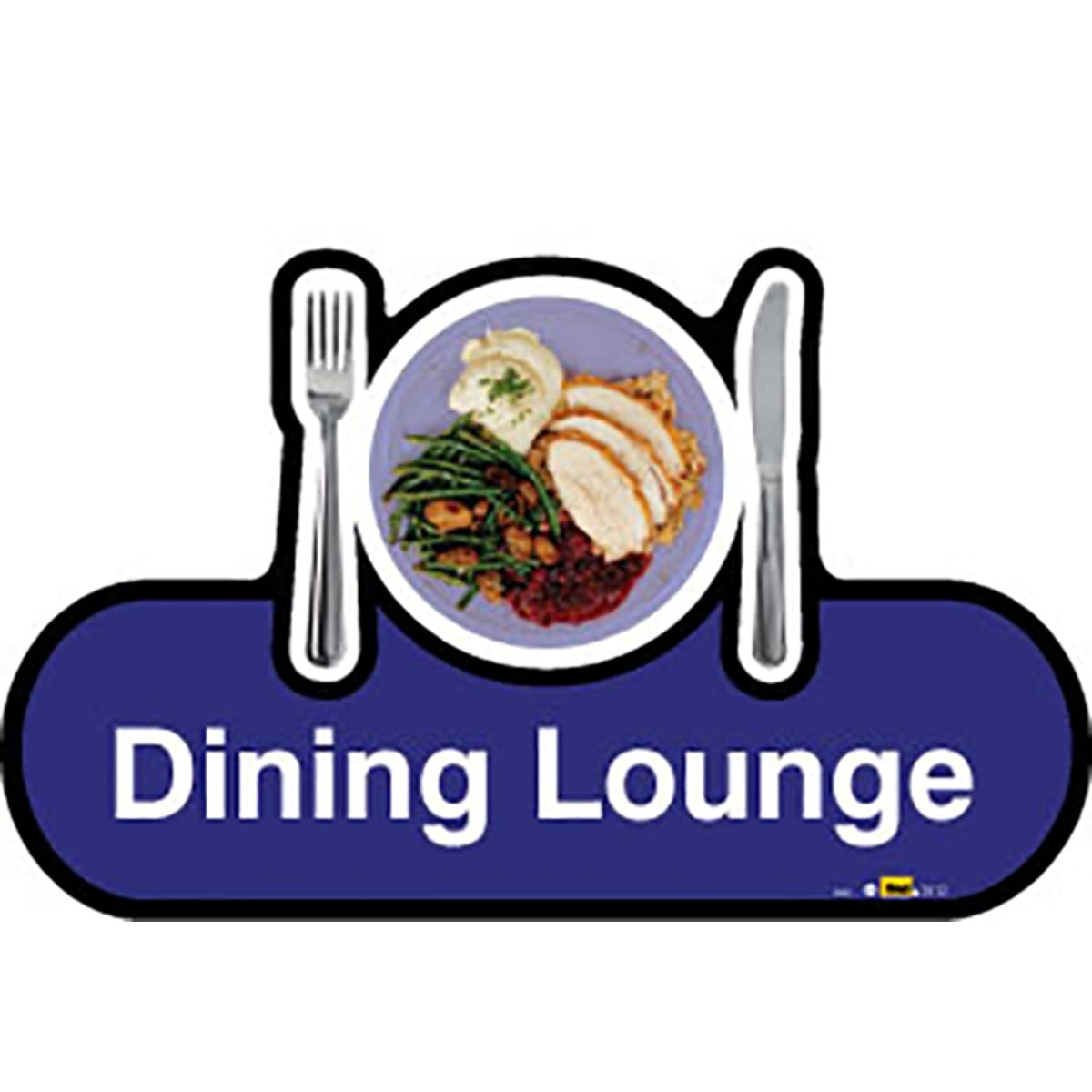 Dementia Friendly Dining Lounge - Blue Sign -480mm Wide with Screw Fix by Dementia Friendly