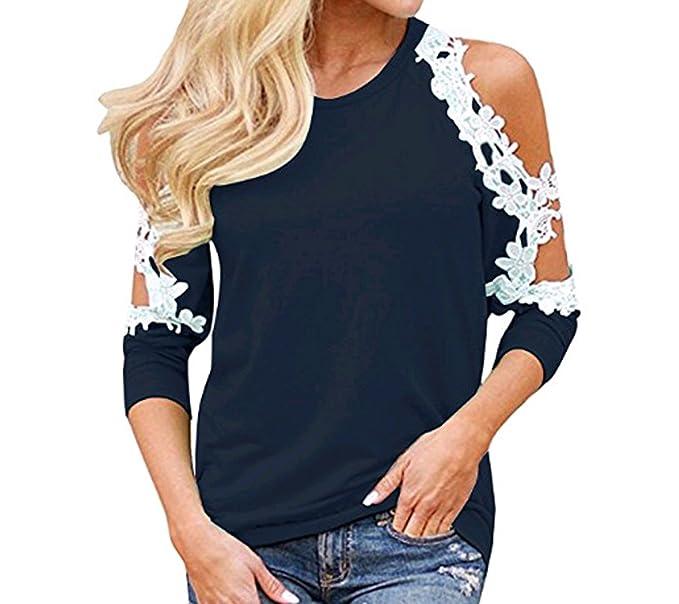 OUFour Primavera y Otoño Mujeres Tops Cuello Redondo Camisas de Hombro Frío Tees Moda Encaje Costura Camisetas de Manga Larga Blusa T-Shirt Jumpers: ...