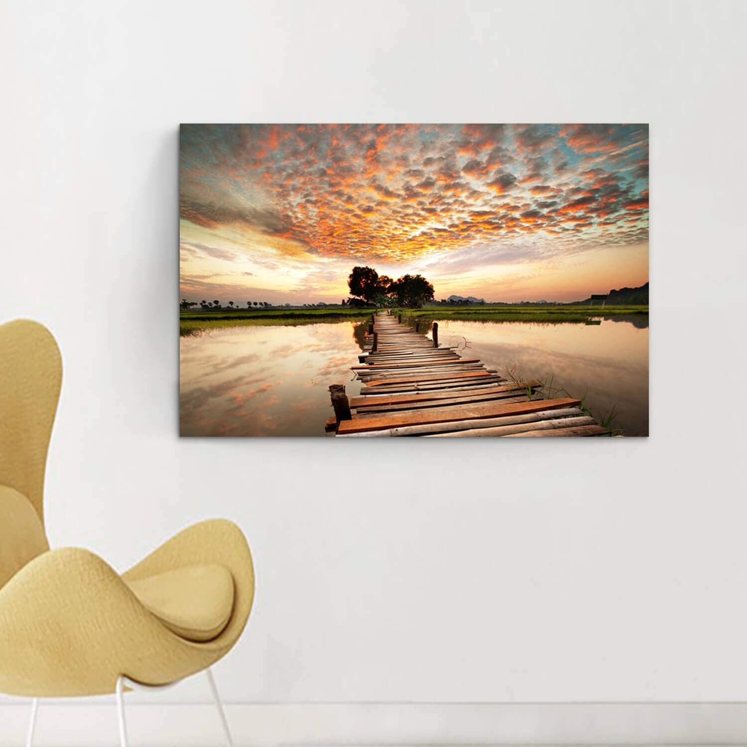 Pier Boathouse Lake Sunset Canvas Wall Frame 3D Art Canvas Mount Room H602