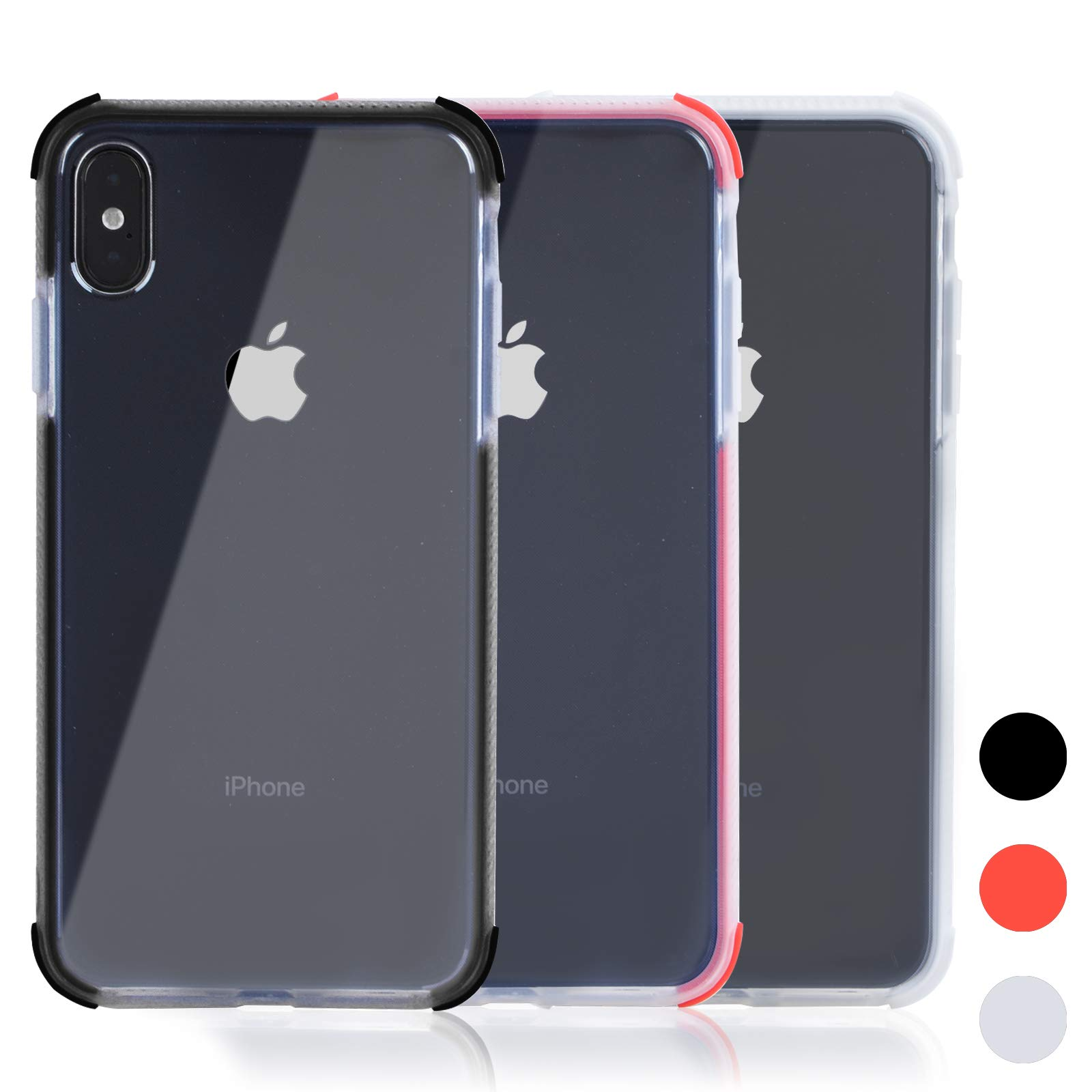 Voilamart iPhone X Case, iPhone Xs Case Crystal Clear Transparent Anti-Slick/Protective Case for iPhone X/Xs 5.8 Inch, Red