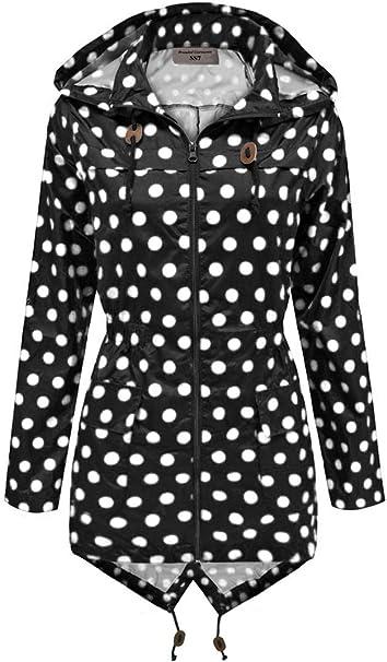SS7 Damen schwarz & weiß gepunktet Regenmantel festival jacke,sizes 8 to 16