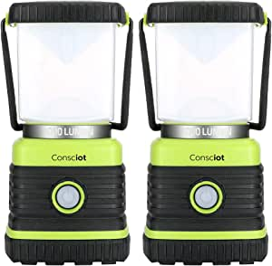 Consciot Ultra Bright LED Camping Lantern with 1000LM, D Battery Powered, 4 Light Modes, Dimmable Water-Resistant Lantern, Portable Flashlight for Camping, Hiking, Emergency, Power Outage, 2-Pack