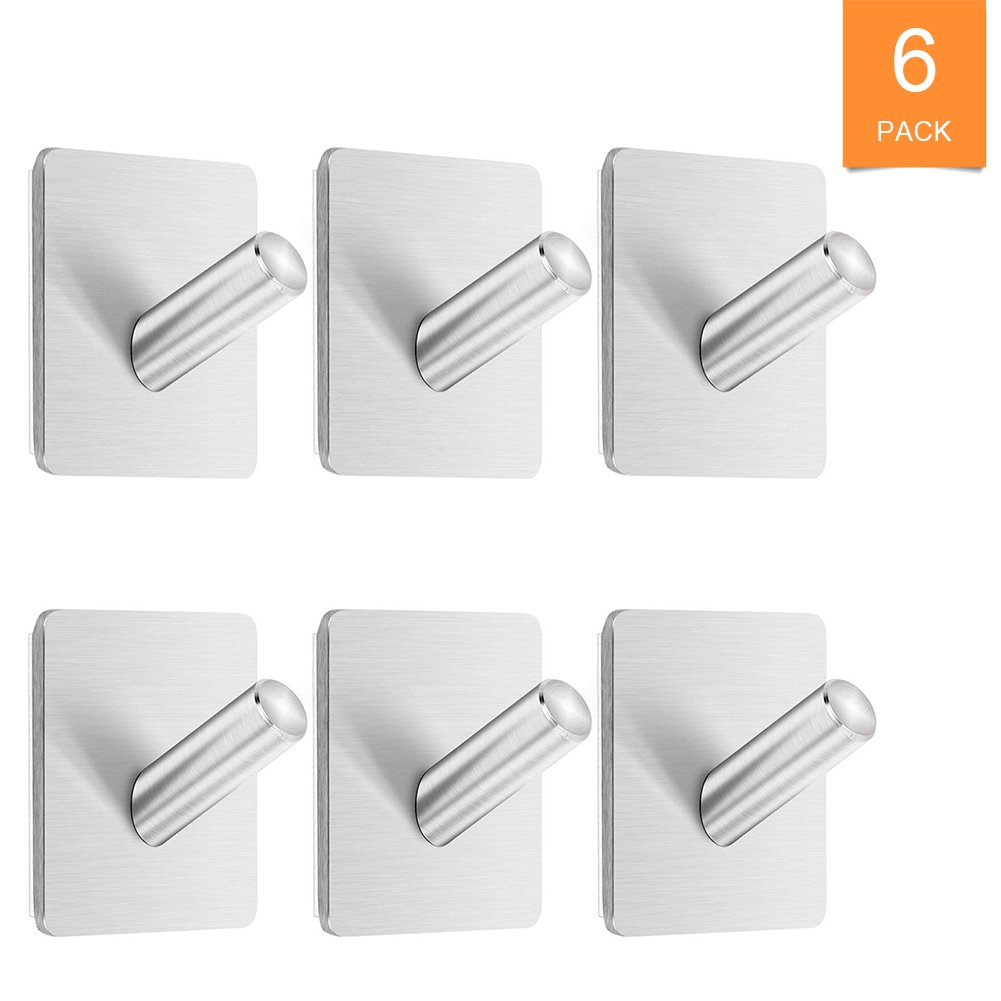 LAUCHUH 3M Self Adhesive Hooks No Drill Heavy Duty Wall Hooks Set of 6 Hangers Mount Stick On Bathroom Kitchen