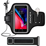 iPhone 7/8 Plus Armband, JEMACHE Fingerprint Touch Supported Gym Running Workout/Exercise Arm Band Case for iPhone iPhone 6/6S/7/8 Plus with Key/Card Holder (Black)