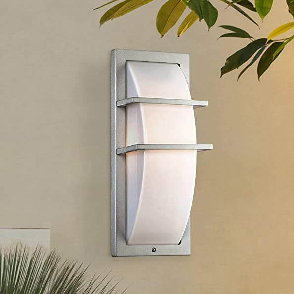 Dualo Modern Outdoor Wall Light Fixture Silver 13 3 4 Curved Acrylic Opal for House Patio Porch – Possini Euro Design