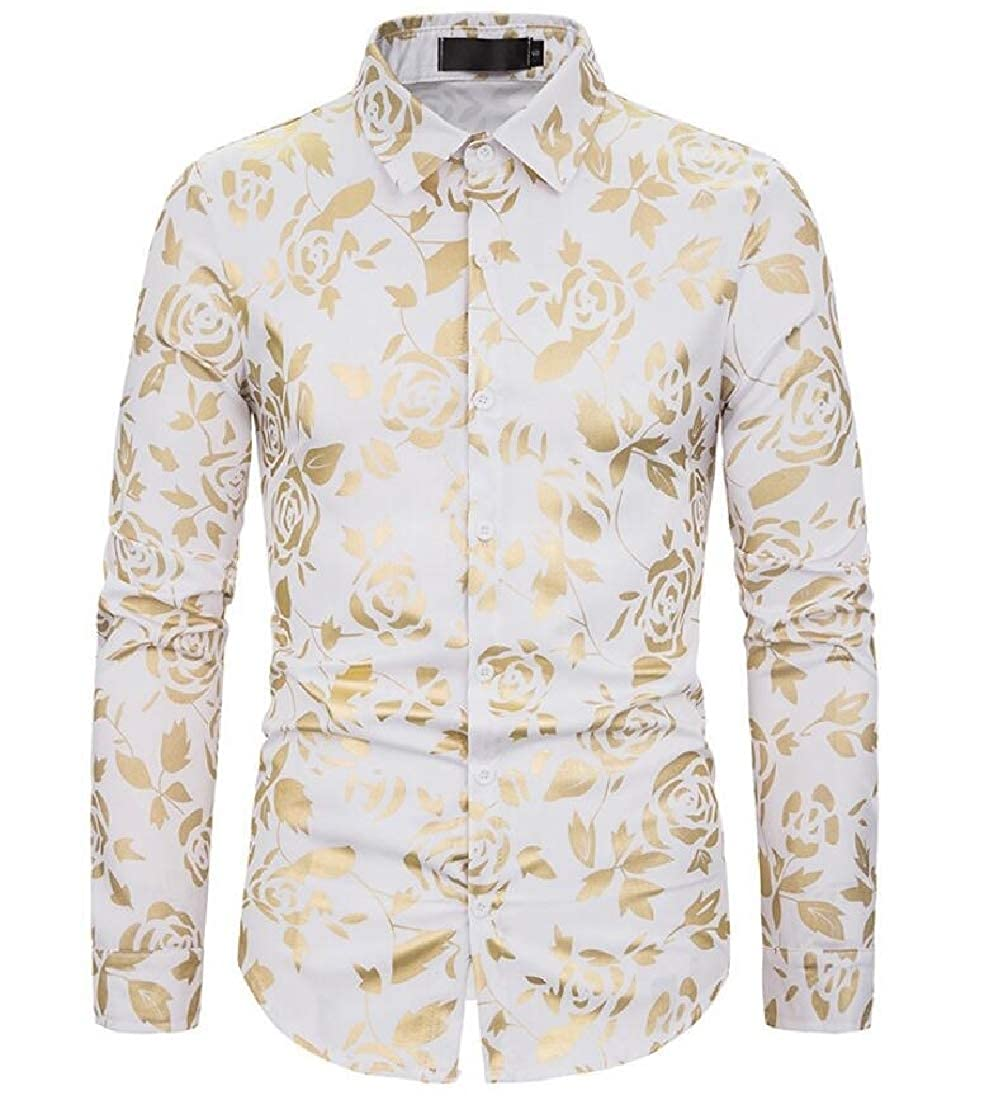 YONGM Mens Luxury Basic Design Shirts Floral Dress Shirt Casual Button Down Shirts