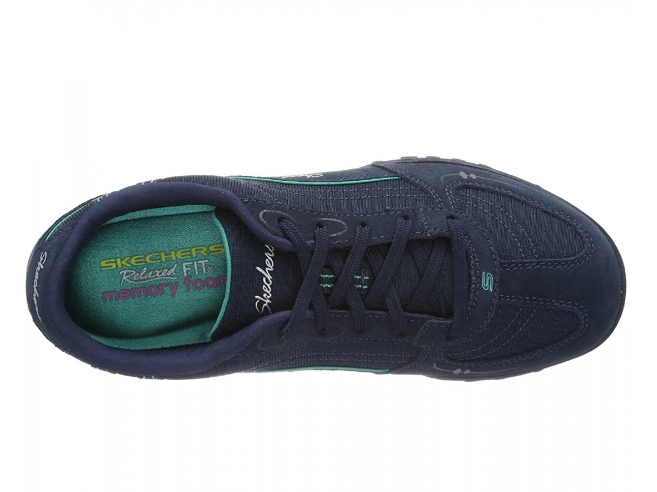 b23abdd5a3d7 Skechers BREATHE EASY JUST RELAX Ladies Wide Fit Trainers Navy Aqua UK 4   Amazon.co.uk  Shoes   Bags