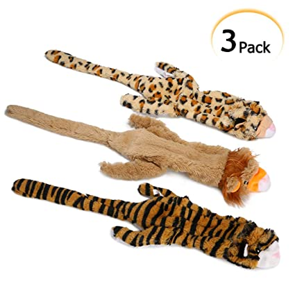 PDTO No Stuffing Dog Toys, Stuffingless Dog Chew Toys Set with Squeakers,  Squeaky Plush Dog Toys for Small Medium Dogs